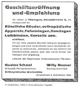 Eröffnungsanzeige im schwäbischen Tagblatt 1936